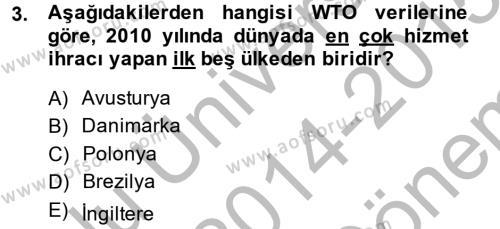 Dış Ticaret Bölümü 2. Yarıyıl Dış Ticarete Giriş Dersi 2015 Yılı Bahar Dönemi Dönem Sonu Sınavı 3. Soru