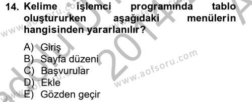 Dış Ticarette Bilgisayar Uygulamaları Dersi Ara Sınavı Deneme Sınav Soruları 14. Soru