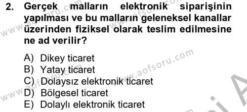 Elektronik Ticaret Dersi 2012 - 2013 Yılı Dönem Sonu Sınavı 2. Soru