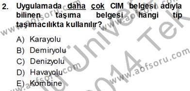 Gümrük Mevzuatı Dersi 2013 - 2014 Yılı Tek Ders Sınavı 2. Soru