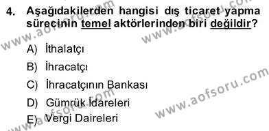 Dış Ticaret Bölümü 4. Yarıyıl İhracat - İthalatta Örnek Olaylar Dersi 2014 Yılı Bahar Dönemi Ara Sınavı 4. Soru