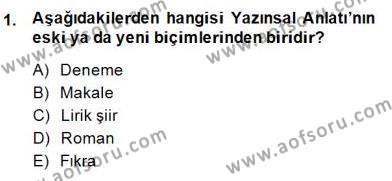 Türk Tiyatrosu Dersi 2014 - 2015 Yılı (Final) Dönem Sonu Sınav Soruları 1. Soru
