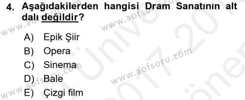 Türk Tiyatrosu Dersi 2017 - 2018 Yılı (Final) Dönem Sonu Sınav Soruları 4. Soru