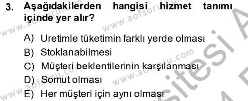 Konaklama Hizmetlerinde Kalite Yönetimi Dersi 2013 - 2014 Yılı Ara Sınavı 3. Soru