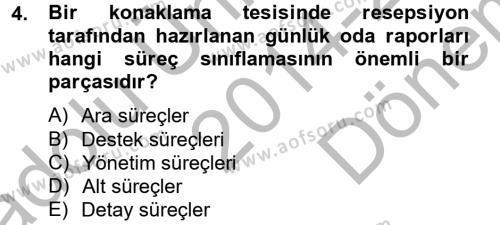 Konaklama Hizmetlerinde Kalite Yönetimi Dersi 2014 - 2015 Yılı Dönem Sonu Sınavı 4. Soru