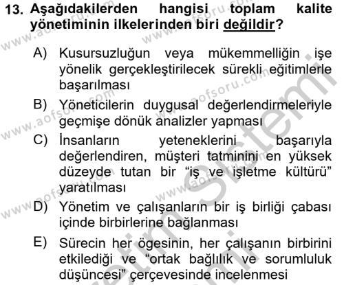 Konaklama Hizmetlerinde Kalite Yönetimi Dersi Ara Sınavı Deneme Sınav Soruları 13. Soru