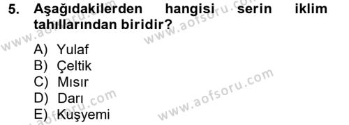 Tarım Bölümü 2. Yarıyıl Tarla Bitkileri I Dersi 2014 Yılı Bahar Dönemi Tek Ders Sınavı 5. Soru