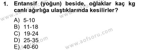 Tarım Bölümü 4. Yarıyıl Hayvan Besleme Dersi 2013 Yılı Bahar Dönemi Dönem Sonu Sınavı 1. Soru