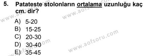 Tarım Bölümü 3. Yarıyıl Tarla Bitkileri II Dersi 2014 Yılı Güz Dönemi Tek Ders Sınavı 5. Soru