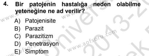 Tarım Bölümü 3. Yarıyıl Fitopatoloji Dersi 2014 Yılı Güz Dönemi Tek Ders Sınavı 4. Soru
