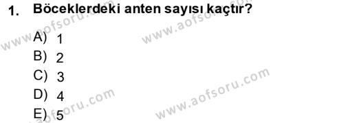 Tarım Bölümü 3. Yarıyıl Entomoloji Dersi 2014 Yılı Güz Dönemi Tek Ders Sınavı 1. Soru