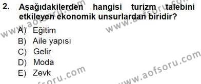 Kültürel Miras ve Turizm Bölümü 3. Yarıyıl Genel Turizm Bilgisi Dersi 2013 Yılı Güz Dönemi Dönem Sonu Sınavı 2. Soru