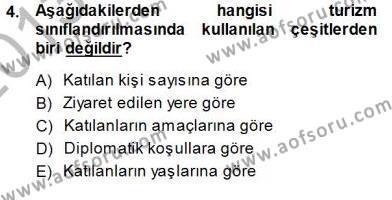 Genel Turizm Bilgisi Dersi 2013 - 2014 Yılı Dönem Sonu Sınavı 4. Soru