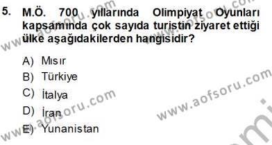 Kültürel Miras ve Turizm Bölümü 3. Yarıyıl Genel Turizm Bilgisi Dersi 2014 Yılı Güz Dönemi Dönem Sonu Sınavı 5. Soru