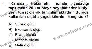 Kültürel Miras ve Turizm Bölümü 3. Yarıyıl Genel Turizm Bilgisi Dersi 2015 Yılı Güz Dönemi Dönem Sonu Sınavı 1. Soru
