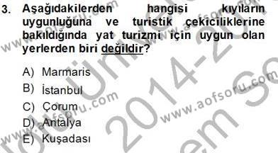 Kültürel Miras ve Turizm Bölümü 3. Yarıyıl Genel Turizm Bilgisi Dersi 2015 Yılı Güz Dönemi Dönem Sonu Sınavı 3. Soru