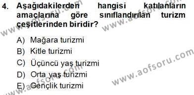Kültürel Miras ve Turizm Bölümü 3. Yarıyıl Genel Turizm Bilgisi Dersi 2015 Yılı Güz Dönemi Dönem Sonu Sınavı 4. Soru