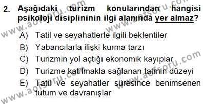 Kültürel Miras ve Turizm Bölümü 3. Yarıyıl Genel Turizm Bilgisi Dersi 2016 Yılı Güz Dönemi Ara Sınavı 2. Soru