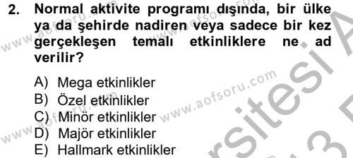 Konaklama İşletmeciliği Bölümü 4. Yarıyıl Kongre ve Etkinlik Yönetimi Dersi 2013 Yılı Bahar Dönemi Ara Sınavı 2. Soru