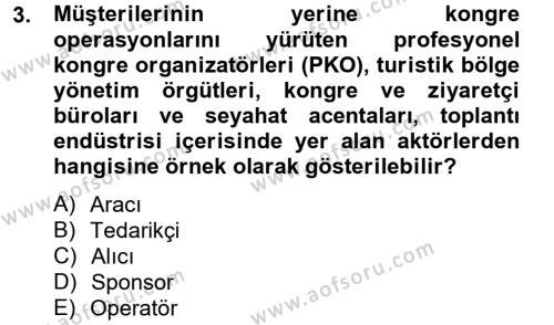 Kongre ve Etkinlik Yönetimi Dersi 2012 - 2013 Yılı Ara Sınavı 3. Soru
