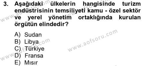 Kongre ve Etkinlik Yönetimi Dersi 2012 - 2013 Yılı Dönem Sonu Sınavı 3. Soru