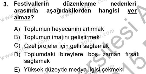 Kongre ve Etkinlik Yönetimi Dersi 2014 - 2015 Yılı Ara Sınavı 3. Soru
