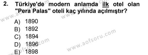 Yiyecek-İçecek Hizmetleri Dersi 2012 - 2013 Yılı Ara Sınavı 2. Soru