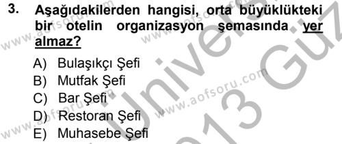 Konaklama İşletmeciliği Bölümü 3. Yarıyıl Yiyecek-İçecek Hizmetleri Dersi 2013 Yılı Güz Dönemi Ara Sınavı 3. Soru