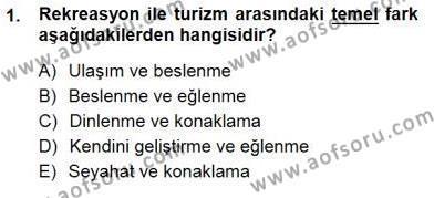 Turizm Coğrafyası Dersi 2012 - 2013 Yılı Dönem Sonu Sınavı 1. Soru