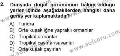 Kültürel Miras ve Turizm Bölümü 3. Yarıyıl Turizm Coğrafyası Dersi 2013 Yılı Güz Dönemi Dönem Sonu Sınavı 2. Soru