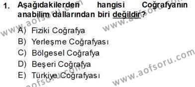Kültürel Miras ve Turizm Bölümü 3. Yarıyıl Turizm Coğrafyası Dersi 2014 Yılı Güz Dönemi Ara Sınavı 1. Soru