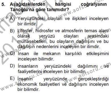 Kültürel Miras ve Turizm Bölümü 3. Yarıyıl Turizm Coğrafyası Dersi 2014 Yılı Güz Dönemi Ara Sınavı 5. Soru