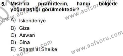 Kültürel Miras ve Turizm Bölümü 3. Yarıyıl Turizm Coğrafyası Dersi 2014 Yılı Güz Dönemi Dönem Sonu Sınavı 5. Soru