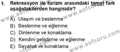 Kültürel Miras ve Turizm Bölümü 3. Yarıyıl Turizm Coğrafyası Dersi 2014 Yılı Güz Dönemi Tek Ders Sınavı 1. Soru