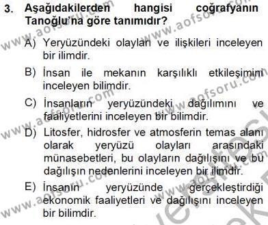 Kültürel Miras ve Turizm Bölümü 3. Yarıyıl Turizm Coğrafyası Dersi 2014 Yılı Güz Dönemi Tek Ders Sınavı 3. Soru