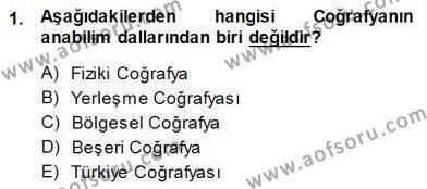 Turizm Coğrafyası Dersi 2014 - 2015 Yılı Dönem Sonu Sınavı 1. Soru