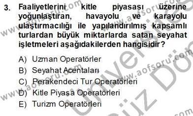Seyahat Acentacılığı ve Tur Operatörlüğü Dersi 2013 - 2014 Yılı Dönem Sonu Sınavı 3. Soru