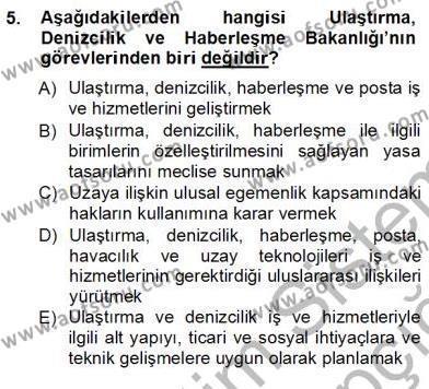 Turizm ve Seyahat Hizmetleri Bölümü 3. Yarıyıl Turizm Ulaştırması Dersi 2013 Yılı Güz Dönemi Ara Sınavı 5. Soru
