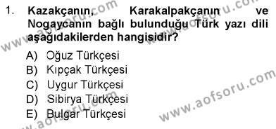 Türk Dili 1 Dersi 2012 - 2013 Yılı Ara Sınavı 1. Soru