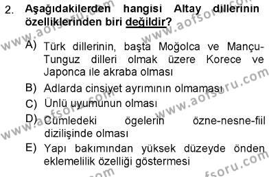 Türk Dili 1 Dersi 2012 - 2013 Yılı Ara Sınavı 2. Soru