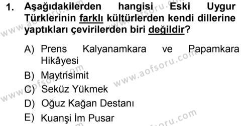Türk Dili 1 Dersi 2012 - 2013 Yılı Dönem Sonu Sınavı 1. Soru