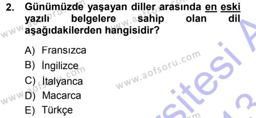 Tarih Bölümü 7. Yarıyıl Türk Dili I Dersi 2013 Yılı Güz Dönemi Dönem Sonu Sınavı 2. Soru