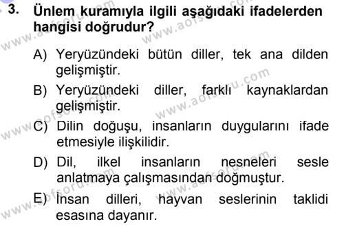 Türk Dili 1 Dersi 2012 - 2013 Yılı Dönem Sonu Sınavı 3. Soru