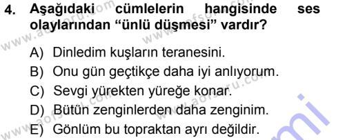 Türk Dili 1 Dersi 2012 - 2013 Yılı Dönem Sonu Sınavı 4. Soru