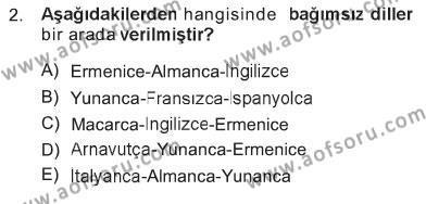 Turizm ve Otel İşletmeciliği Bölümü 3. Yarıyıl Türk Dili I Dersi 2013 Yılı Güz Dönemi Tek Ders Sınavı 2. Soru