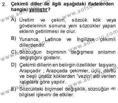 Türk Dili 1 Dersi 2013 - 2014 Yılı Ara Sınavı 2. Soru