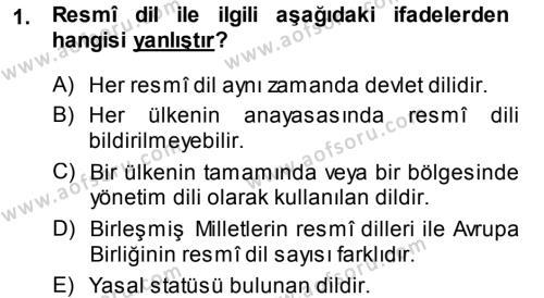 Türk Dili 1 Dersi 2013 - 2014 Yılı Dönem Sonu Sınavı 1. Soru