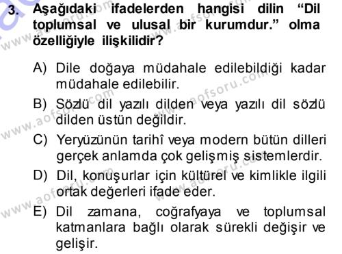 Türk Dili 1 Dersi 2013 - 2014 Yılı Dönem Sonu Sınavı 3. Soru