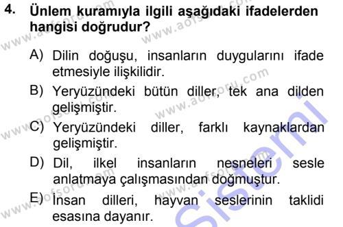Türk Dili 1 Dersi 2013 - 2014 Yılı Dönem Sonu Sınavı 4. Soru