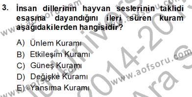 Coğrafi Bilgi Sistemleri ve Teknolojileri Bölümü 3. Yarıyıl Türk Dili I Dersi 2015 Yılı Güz Dönemi Ara Sınavı 3. Soru